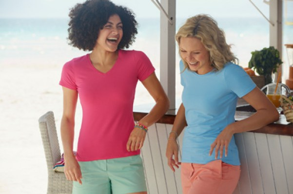 Lady-Fit Crew Neck T and Lady-Fit V-Neck T Double
