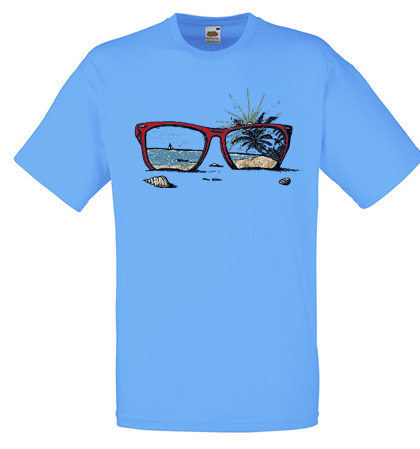ΤΥΡΚΟΥΑΖ t-shirt FRUIT OF THE LOOM με στάμπα SUNGLASSES