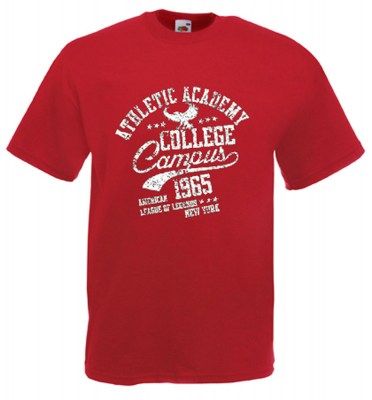 ΒΑΘΥ ΚΟΚΚΙΝΟ t-shirt FRUIT OF THE LOOM COLLEGE