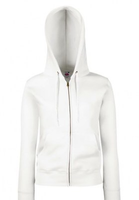 FRUIT OF THE LOOM LADY- FIT HOODED SWEAT JACKET - ΛΕΥΚΟ