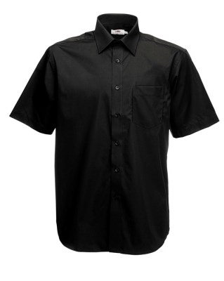ΜΑΥΡΟ FRUIT OF THE LOOM MEN SHORT SLEEVE POPLIN
