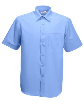 ΓΑΛΑΖΙΟ FRUIT OF THE LOOM MEN SHORT SLEEVE POPLIN