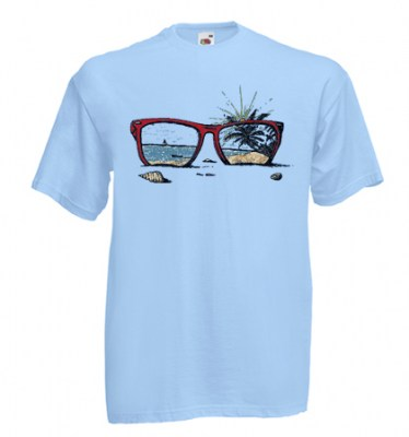 ΓΑΛΑΖΙΟ t-shirt FRUIT OF THE LOOM με στάμπα SUNGLASSES