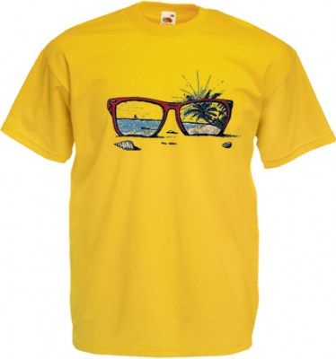 ΚΙΤΡΙΝΟ t-shirt FRUIT OF THE LOOM με στάμπα SUNGLASSES
