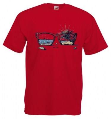 ΚΟΚΚΙΝΟ t-shirt FRUIT OF THE LOOM με στάμπα SUNGLASSES