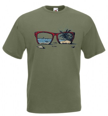 ΛΑΔΙ t-shirt FRUIT OF THE LOOM με στάμπα SUNGLASSES