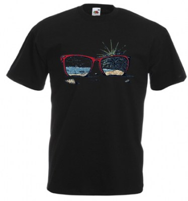 ΜΑΥΡΟ t-shirt FRUIT OF THE LOOM με στάμπα SUNGLASSES