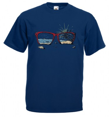 ΜΠΛΕ  t-shirt FRUIT OF THE LOOM με στάμπα SUNGLASSES