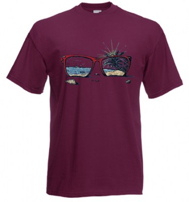 ΜΠΟΡΝΤΩ t-shirt FRUIT OF THE LOOM με στάμπα SUNGLASSES