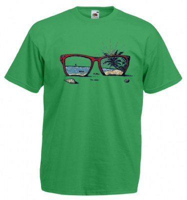 ΠΡΑΣΙΝΟ t-shirt FRUIT OF THE LOOM με στάμπα SUNGLASSES