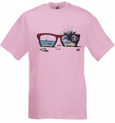ΡΟΖ t-shirt FRUIT OF THE LOOM με στάμπα SUNGLASSES