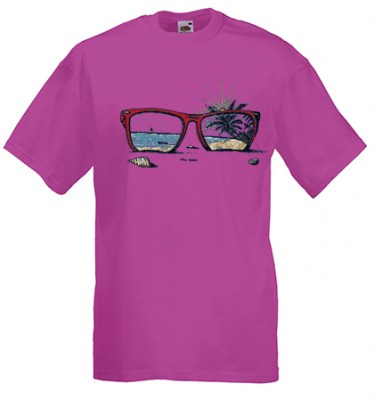 ΦΟΥΞΙΑ t-shirt FRUIT OF THE LOOM με στάμπα SUNGLASSES