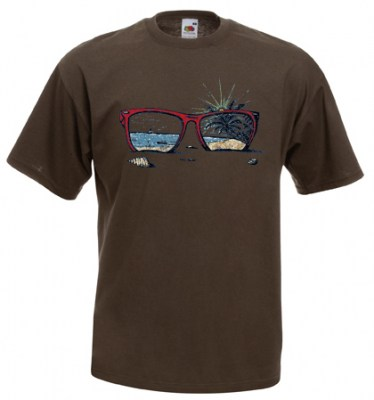 ΚΑΦΕ  t-shirt FRUIT OF THE LOOM με στάμπα SUNGLASSES